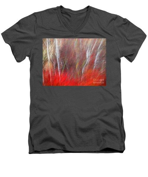 Birch Trees Abstract Men's V-Neck T-Shirt by Tara Turner