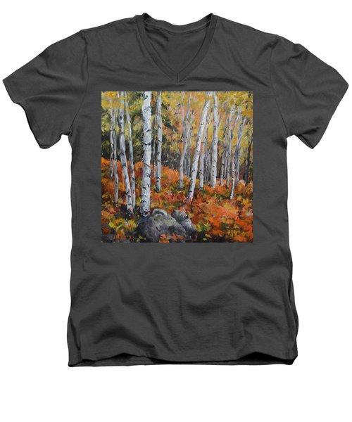 Birch Trees Men's V-Neck T-Shirt by Alexandra Maria Ethlyn Cheshire