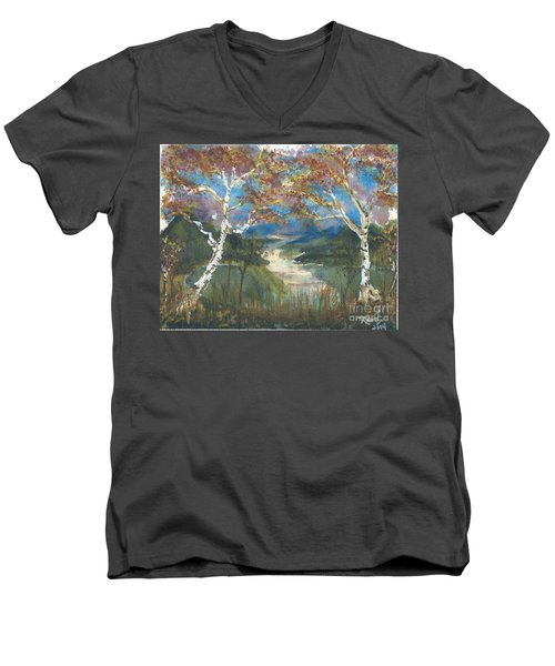 Birch Trees On The Ridge  Men's V-Neck T-Shirt