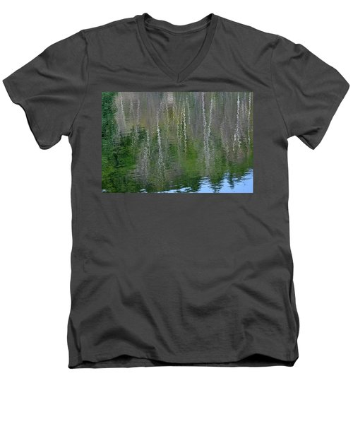 Birch Trees Reflected In Pond Men's V-Neck T-Shirt
