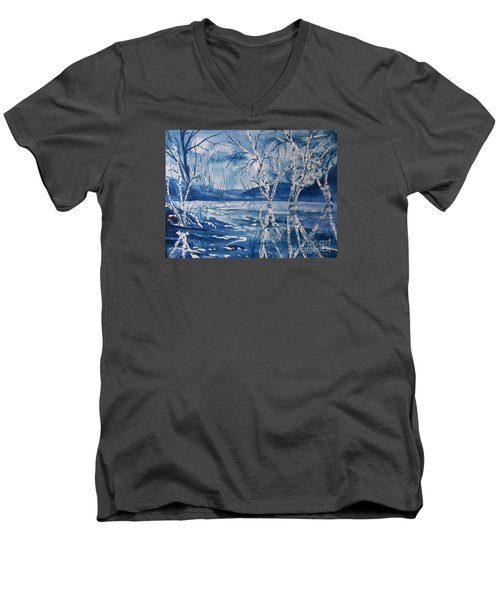 Birches In Blue Men's V-Neck T-Shirt by Ellen Levinson