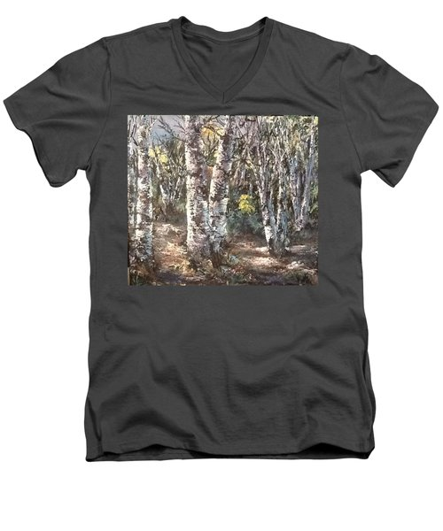 Men's V-Neck T-Shirt featuring the painting Birches by Megan Walsh