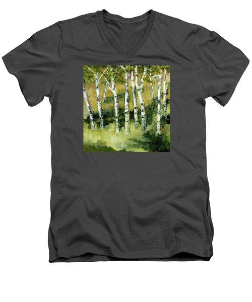 Birches On A Hill Men's V-Neck T-Shirt by Michelle Calkins