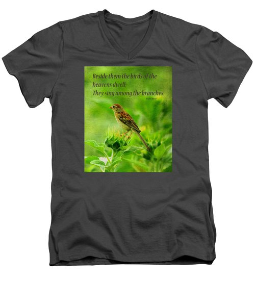 Bird In A Sunflower Field Scripture Men's V-Neck T-Shirt by Sandi OReilly