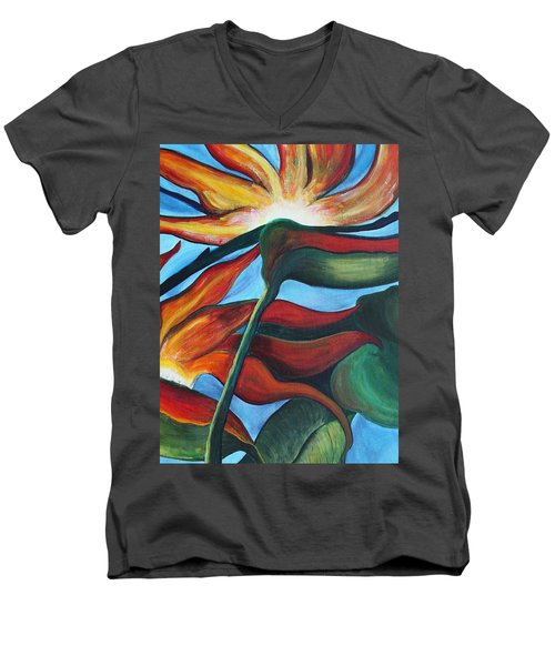 Men's V-Neck T-Shirt featuring the painting Bird Of Paradise by Jolanta Anna Karolska