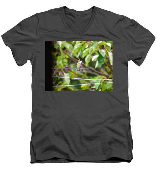 Men's V-Neck T-Shirt featuring the photograph Bird On A Wire by Nick Kirby