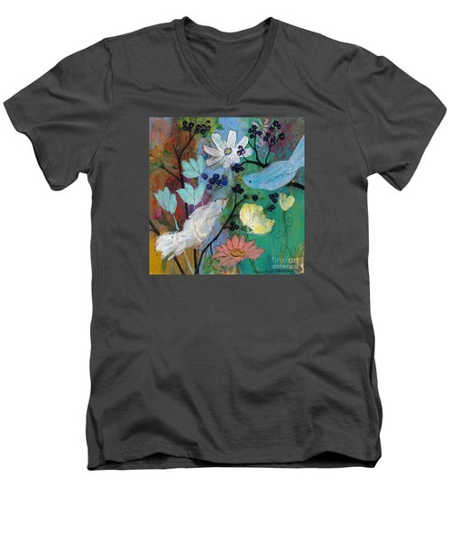 Birds And Berries Men's V-Neck T-Shirt