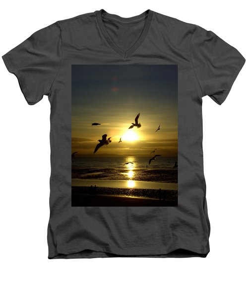 Birds Gathering At Sunset Men's V-Neck T-Shirt