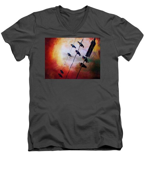 Men's V-Neck T-Shirt featuring the photograph Birds On A Wire by Micki Findlay