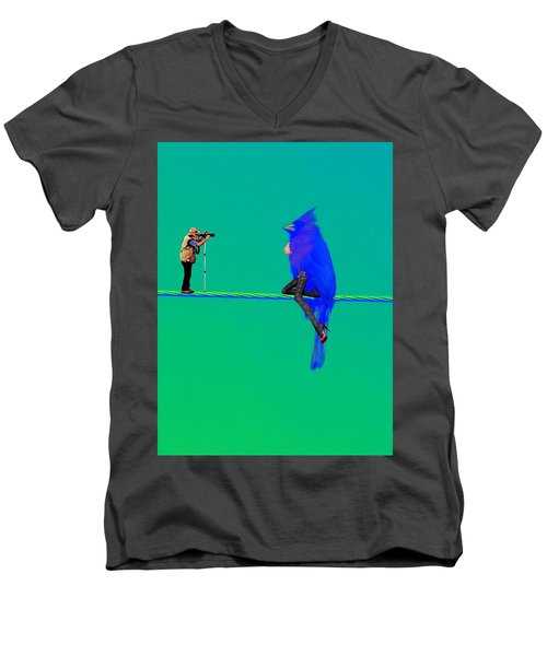 Men's V-Neck T-Shirt featuring the painting Birdwatcher by David Mckinney