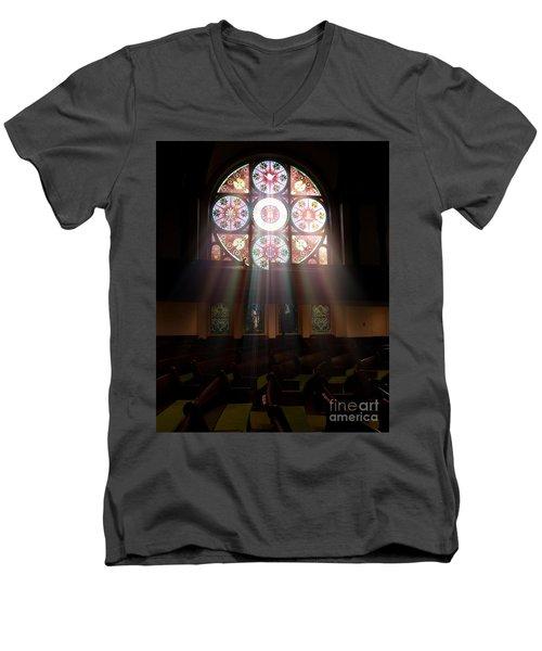 Birmingham Stained Glass Men's V-Neck T-Shirt by Liz Masoner
