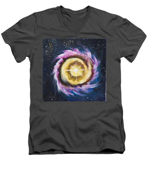 Men's V-Neck T-Shirt featuring the painting Birth Of A Star by Yulia Kazansky