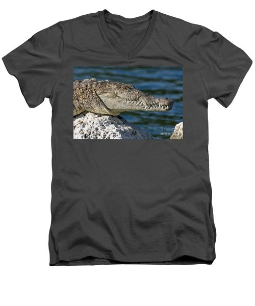 Men's V-Neck T-Shirt featuring the photograph Biscayne National Park Florida American Crocodile by Paul Fearn