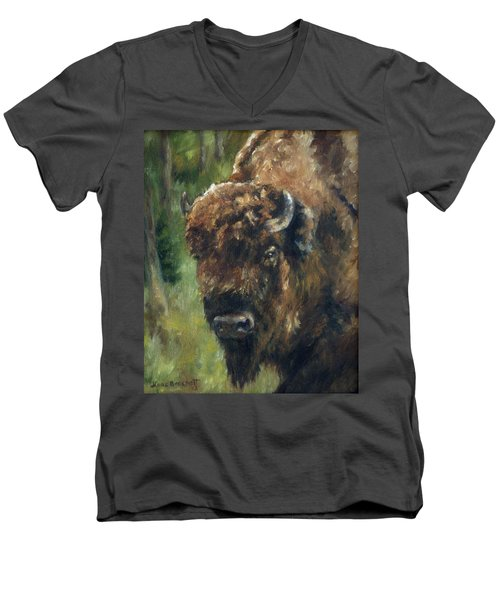 Bison Study - Zero Three Men's V-Neck T-Shirt