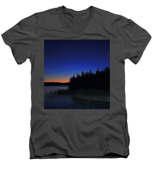 Black And Blue Sky Men's V-Neck T-Shirt by Jason Lees