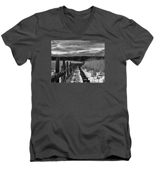 Men's V-Neck T-Shirt featuring the photograph black and White Danger 2 bordway cover with slippery ice by Leif Sohlman