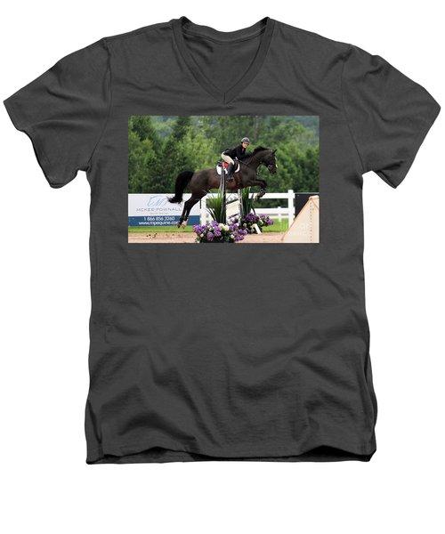 Black And Purple Men's V-Neck T-Shirt