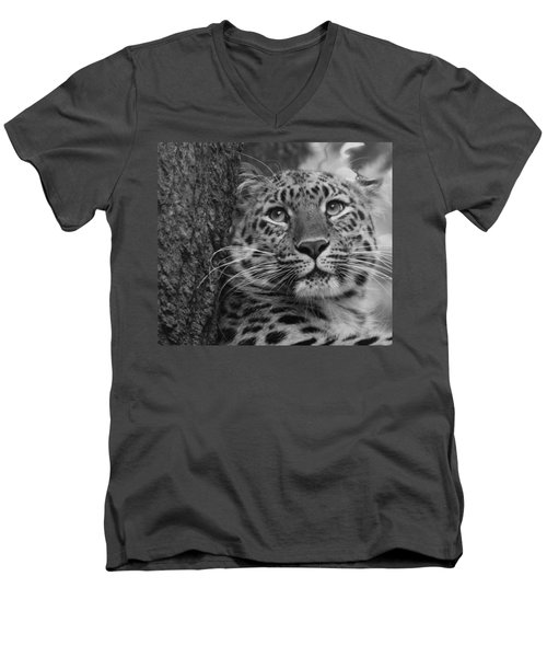 Black And White Amur Leopard Men's V-Neck T-Shirt