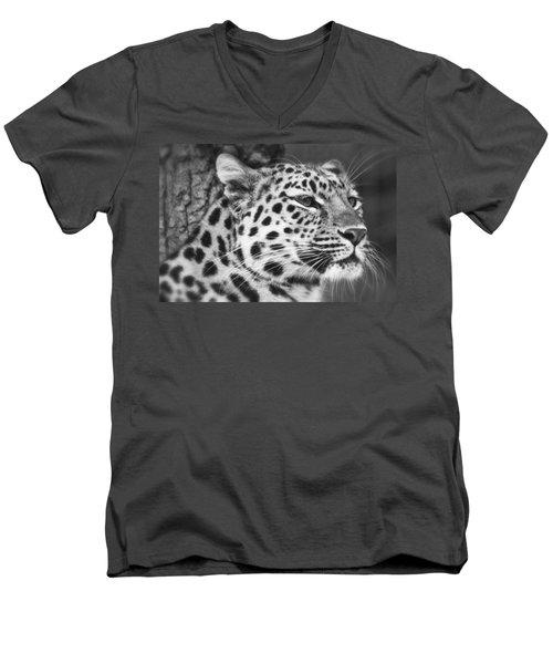 Black And White - Amur Leopard Portrait Men's V-Neck T-Shirt