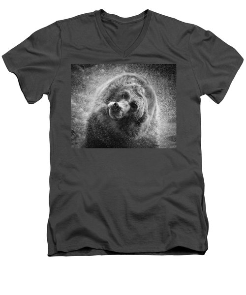 Black And White Grizzly Men's V-Neck T-Shirt by Steve McKinzie