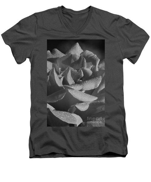Black And White Morning Rose Men's V-Neck T-Shirt