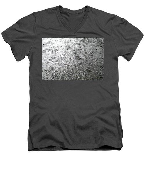 Black And White Rain Men's V-Neck T-Shirt