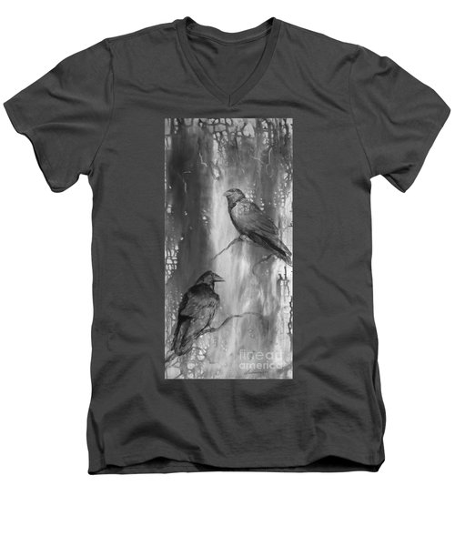 Black And White Ravens Men's V-Neck T-Shirt by Laurianna Taylor