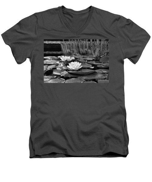 Black And White Version Men's V-Neck T-Shirt