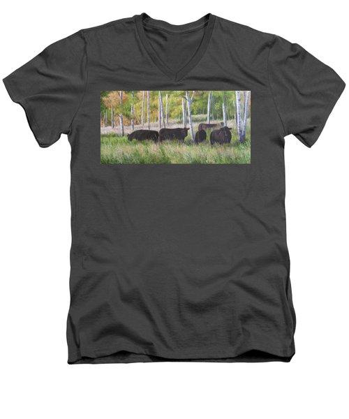 Black Angus Grazing Men's V-Neck T-Shirt