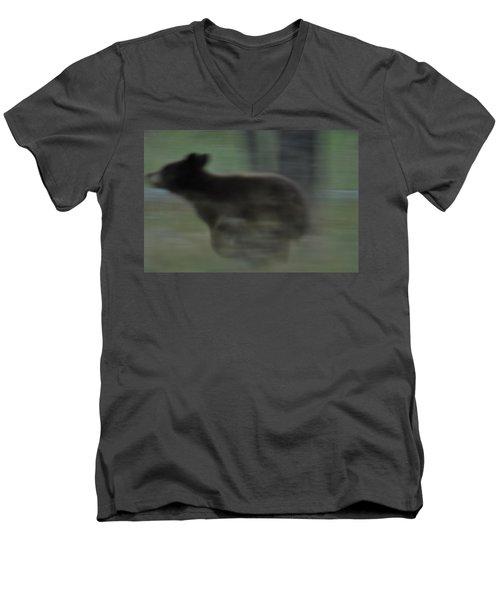 Black Bear Cub Running Men's V-Neck T-Shirt
