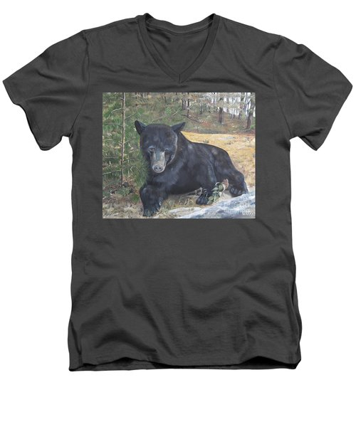 Men's V-Neck T-Shirt featuring the painting Black Bear - Wildlife Art -scruffy by Jan Dappen