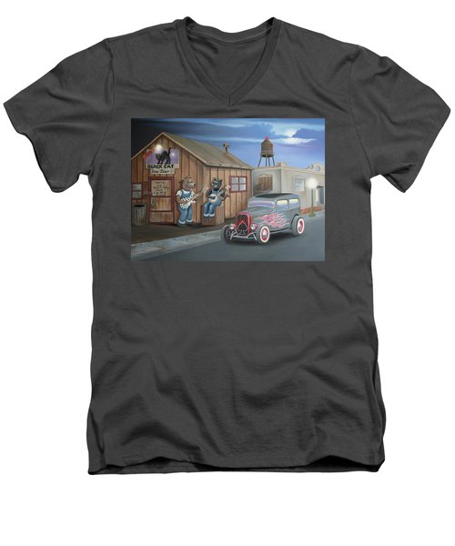 Black Cat Juke Joint Men's V-Neck T-Shirt