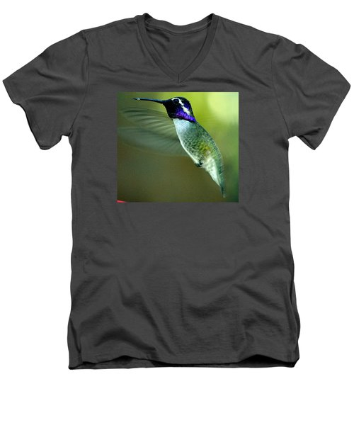 Men's V-Neck T-Shirt featuring the photograph Black Chinned Male In Flight To Feeder by Jay Milo