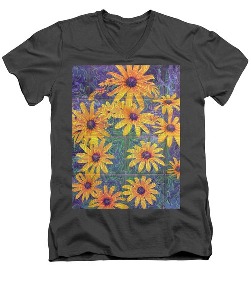 Men's V-Neck T-Shirt featuring the photograph Black-eyed Susan Squared by Brooks Garten Hauschild