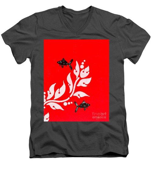 Black Fish Left Men's V-Neck T-Shirt by Stefanie Forck