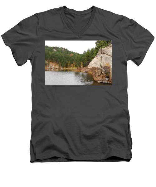 Men's V-Neck T-Shirt featuring the photograph Black Hills Lake by Mary Carol Story