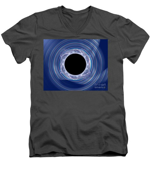 Men's V-Neck T-Shirt featuring the digital art Black Hole by Victoria Harrington