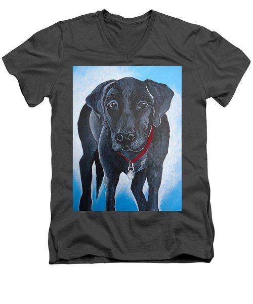 Black Lab Men's V-Neck T-Shirt by Leslie Manley