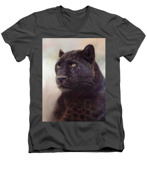 Black Leopard Painting Men's V-Neck T-Shirt