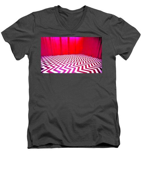 Black Lodge Magenta Men's V-Neck T-Shirt
