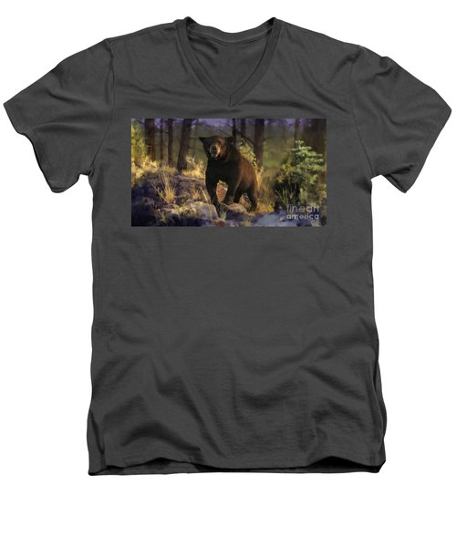 Men's V-Neck T-Shirt featuring the painting Black Max by Rob Corsetti