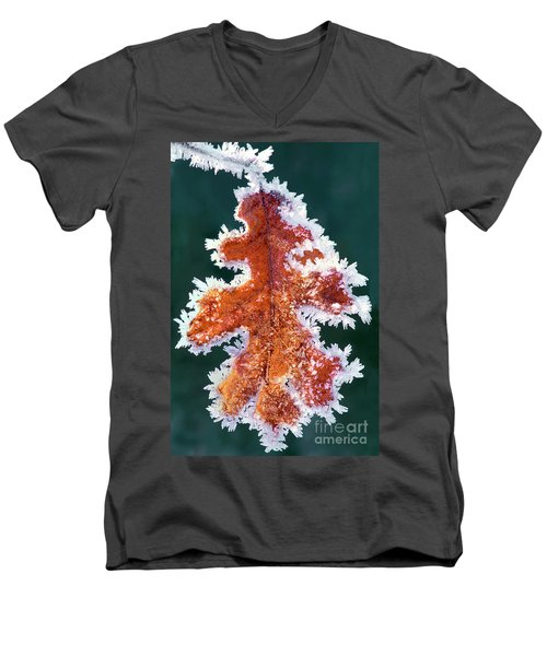 Men's V-Neck T-Shirt featuring the photograph Black Oak Leaf Rime Ice Yosemite National Park California by Dave Welling