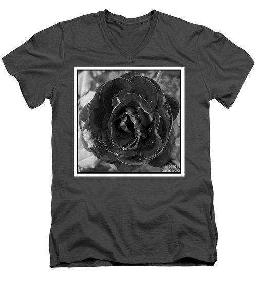 Men's V-Neck T-Shirt featuring the photograph Black Rose by Nina Ficur Feenan