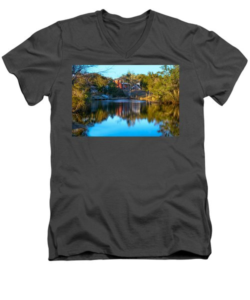 Black Water River In Blue Men's V-Neck T-Shirt