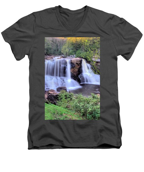 Blackwater Falls Men's V-Neck T-Shirt by Gordon Elwell