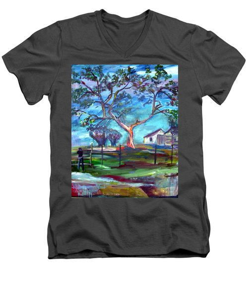 Blanco Texas Ranch House Men's V-Neck T-Shirt