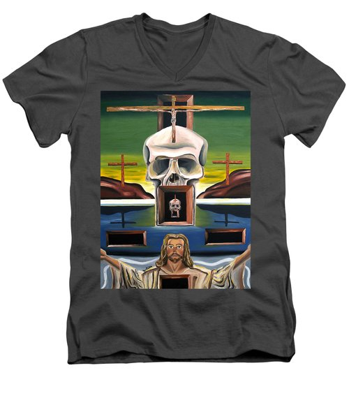 Men's V-Neck T-Shirt featuring the painting Blasphemixition by Ryan Demaree