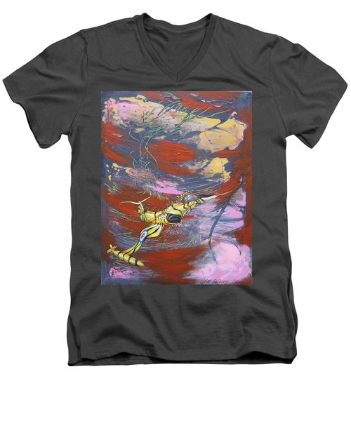 Blazing Starfighter Men's V-Neck T-Shirt