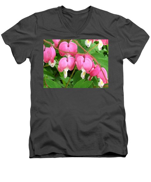 Bleeding Hearts On Parade Men's V-Neck T-Shirt