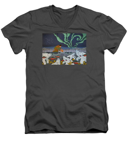 Men's V-Neck T-Shirt featuring the painting Blessing Of The Polar Bears by Chholing Taha